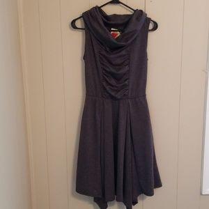 Modcloth Fervour Sleeveless Cowlneck Gray Dress